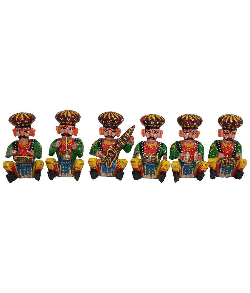 Bhavika Textured Wooden Bawla Musicians - Set Of 6