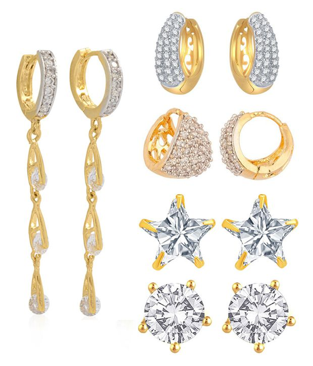 Jewels Galaxy Alloy Gold Plating American diamonds Studded White Coloured Earrings Combo