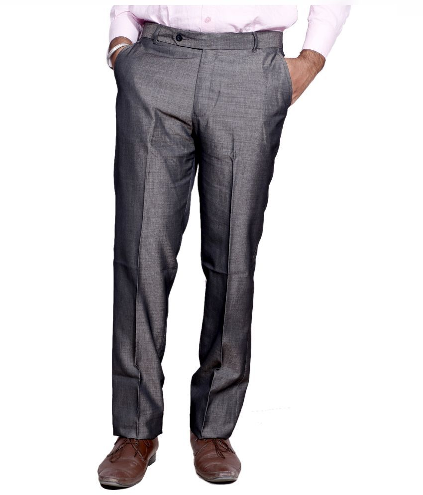 IndiWeaves Grey Regular Fit Flat Trousers