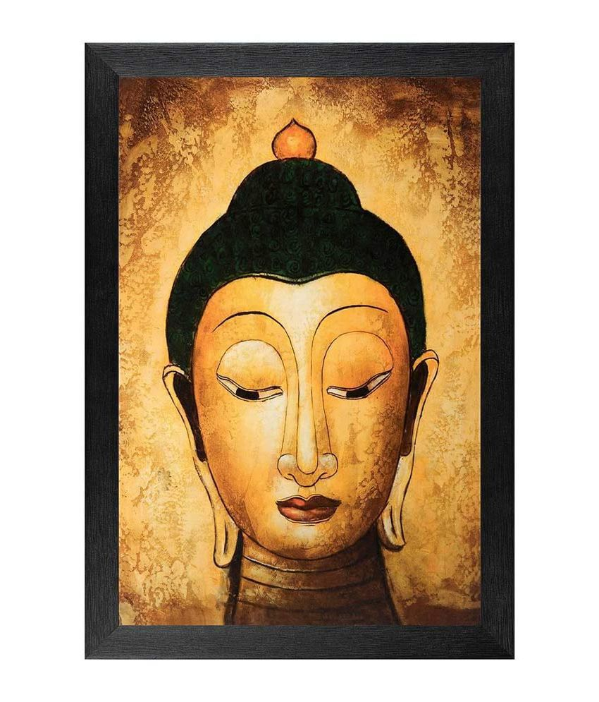 JAF Abstract Buddha Textured Painting with Frame
