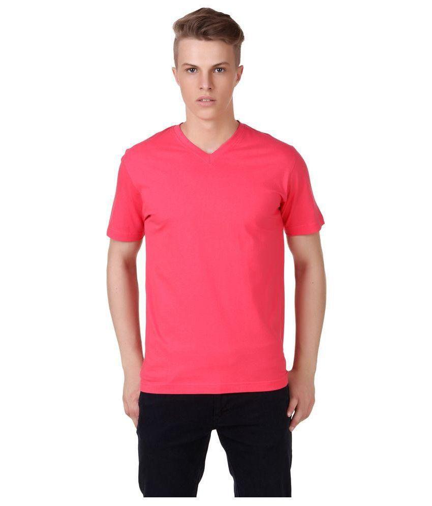 Saravanaa Life Style Pink V-Neck T Shirt