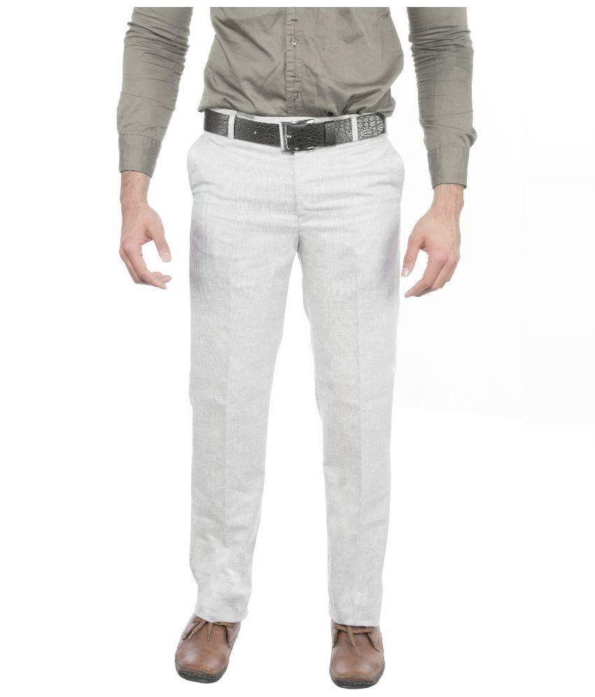 Ukies Beige Regular Fit Flat Trousers