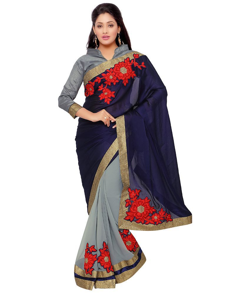 Apple Creation Grey Satin Saree