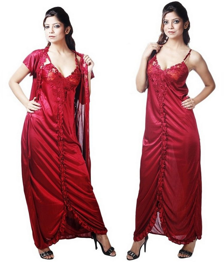 2cd64a5042 Buy Boosah Maroon Satin Nighty & Night Gowns Online at Best Prices in India  - Snapdeal