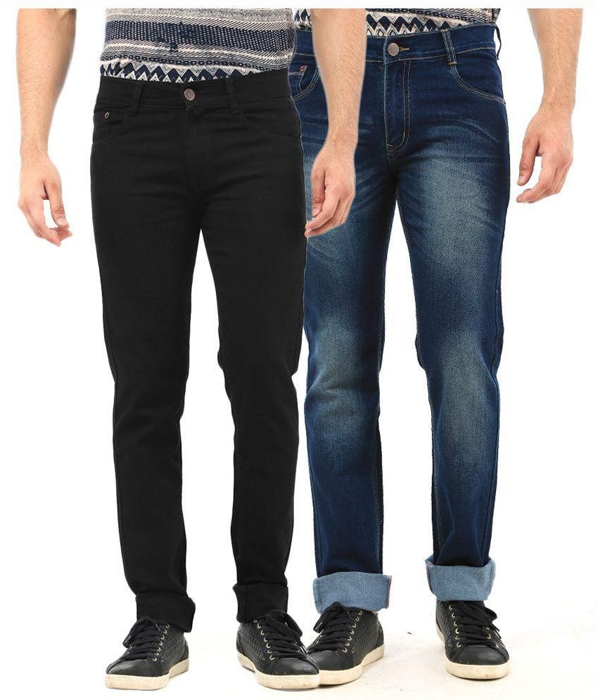 Fuego Multi Regular Fit Faded Jeans Blue and Black Jeans - Pack of 2