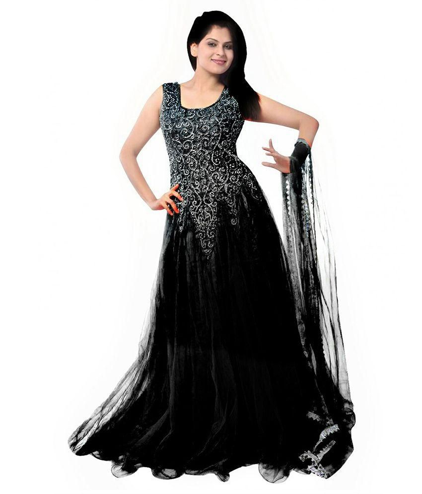 janasya black net anarkali gown semi stitched suit   buy
