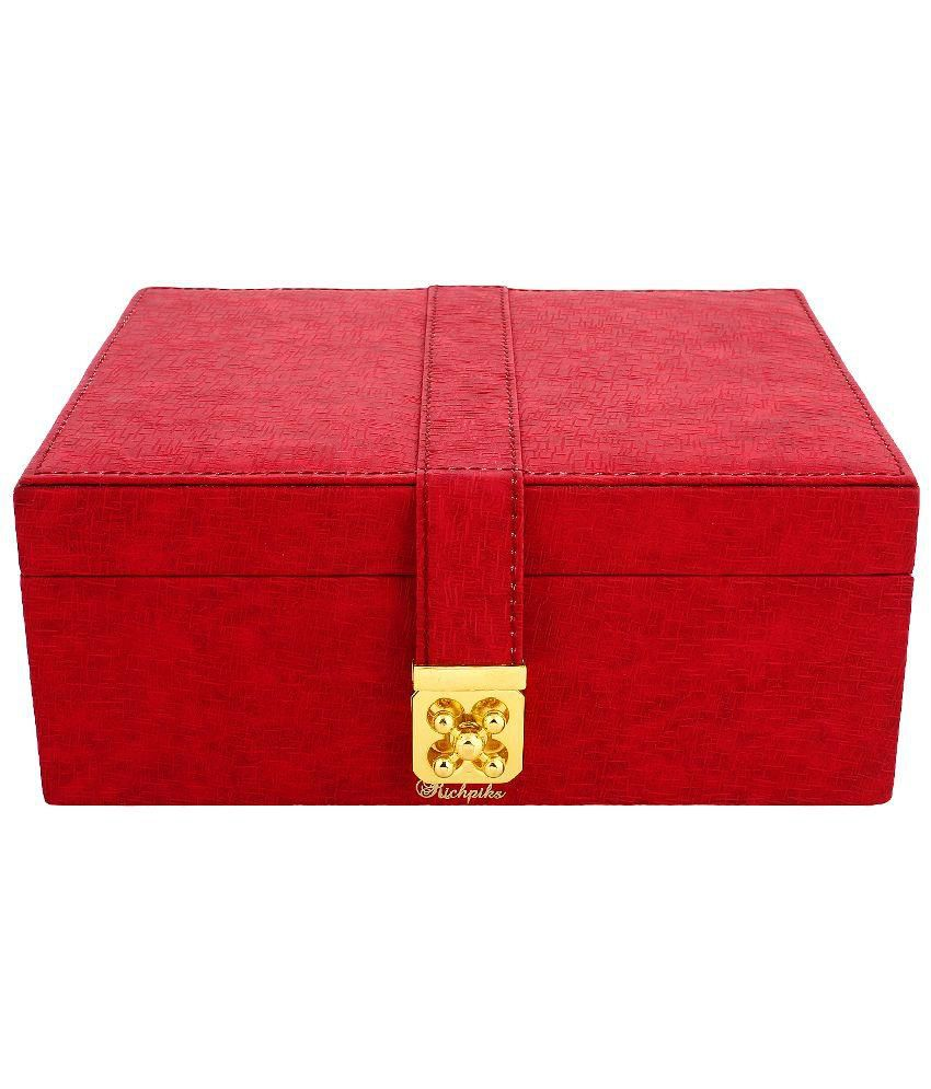Richpiks Wood  Red Coloured Large Jewellery Box