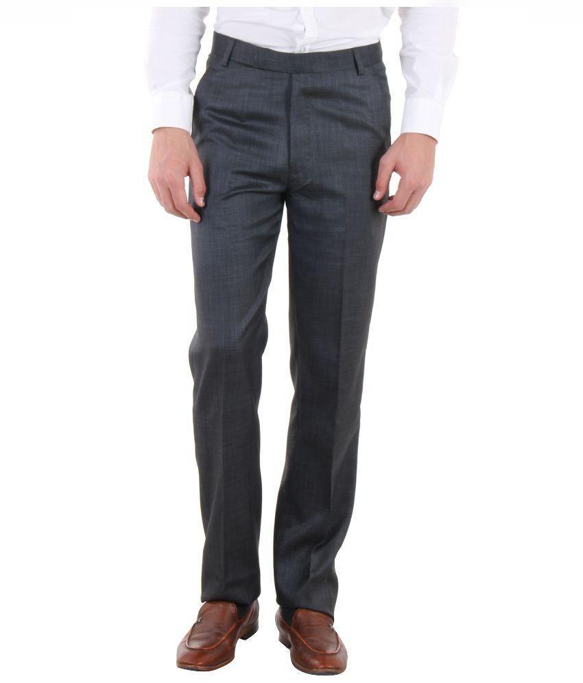 SLS Blue Regular Fit Flat Trousers