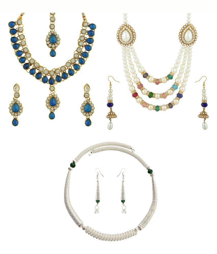 The Luxor Alloy Gold Plating American diamonds Studded Multi Coloured Necklace set Combo