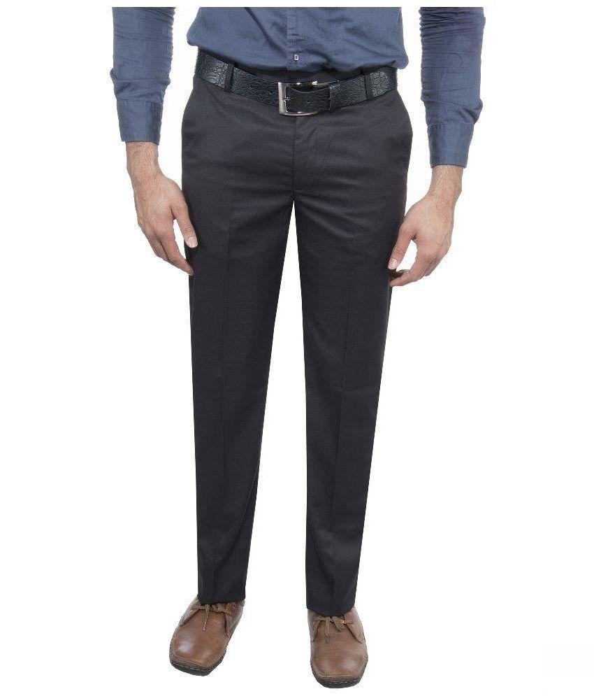 Ukies Black Regular Fit Flat Trousers