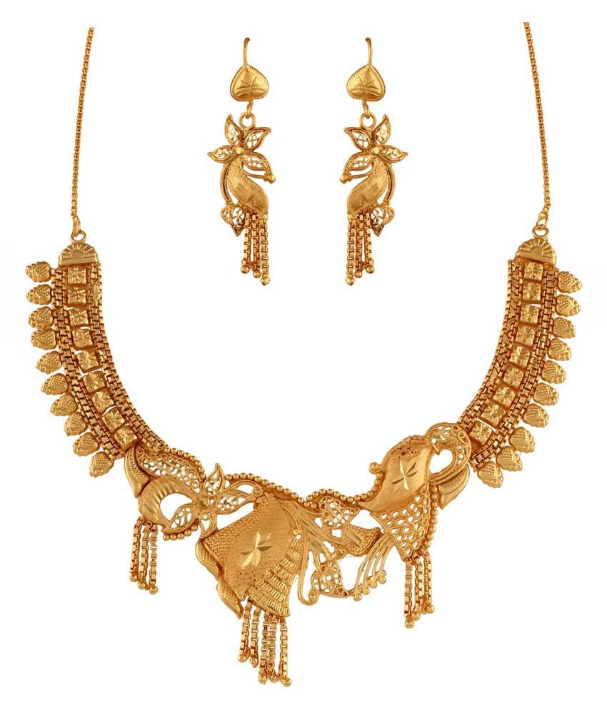 Variation Brass Gold Plating Beads Studded Gold Coloured Necklace Set