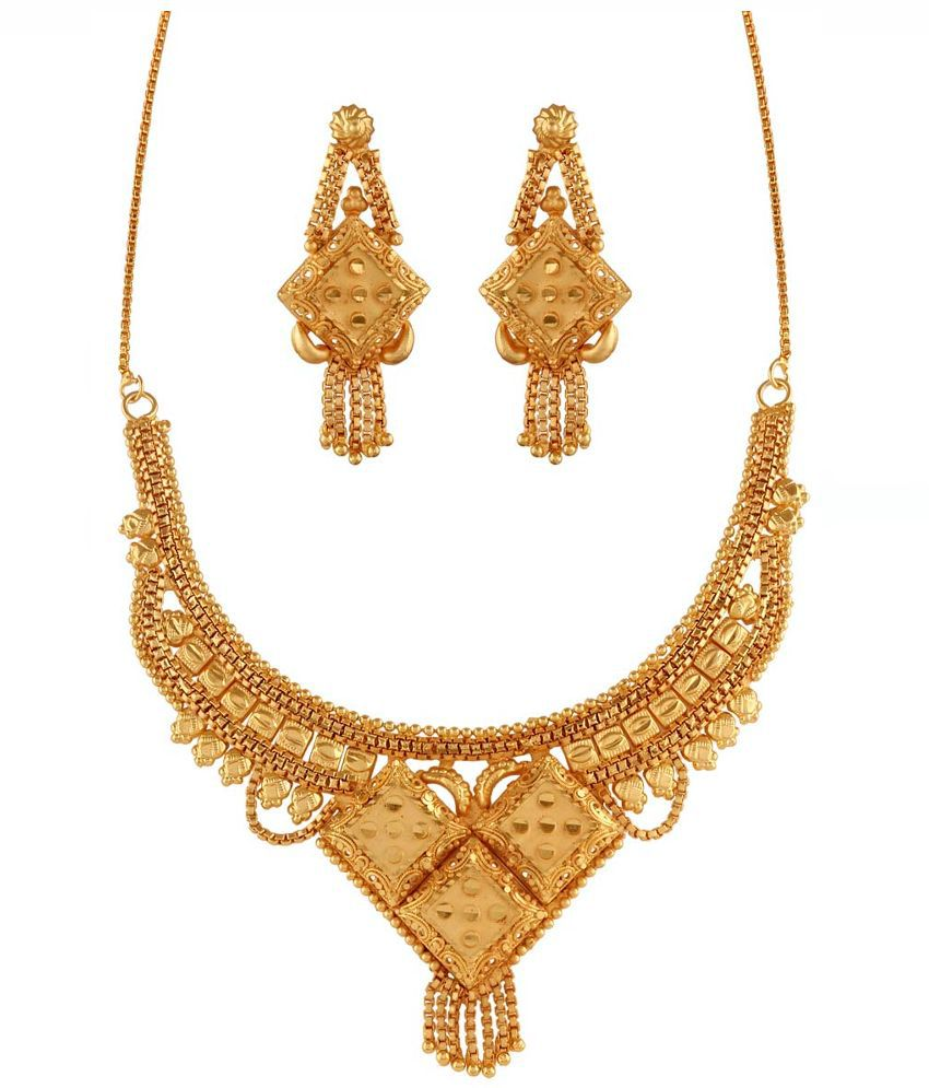 Variation Brass Gold Plating Beads Studded Gold Coloured Necklaces Set
