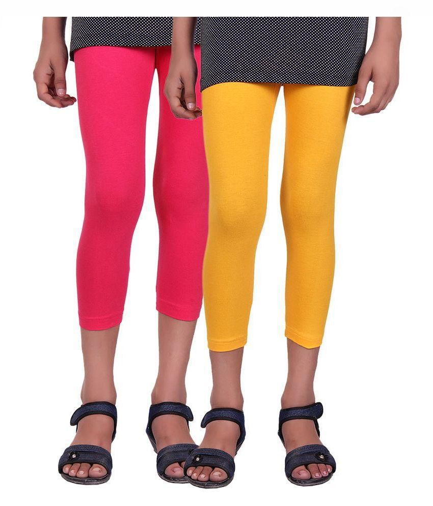 Alisha Pink and Yellow Cotton Capri - Pack of 2