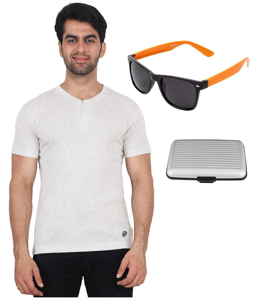 Fashcom Off-White Henley T Shirt with Sunglasses and Card Holder