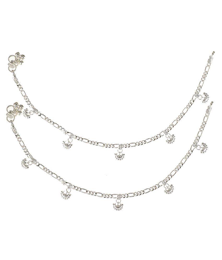 Jaipuri Payal German Silver Silver Plating Polki Studded Silver Coloured Anklet & Toe-ring