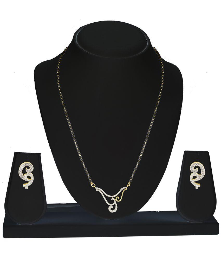 KANISH Alloy Gold Plating Cubiz Zirconia Studded Gold Coloured Mangalsutra Set