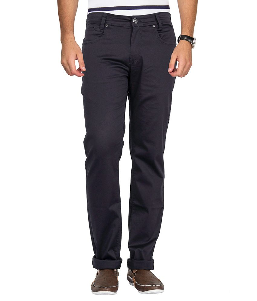 Mufti Navy Blue Slim Solid
