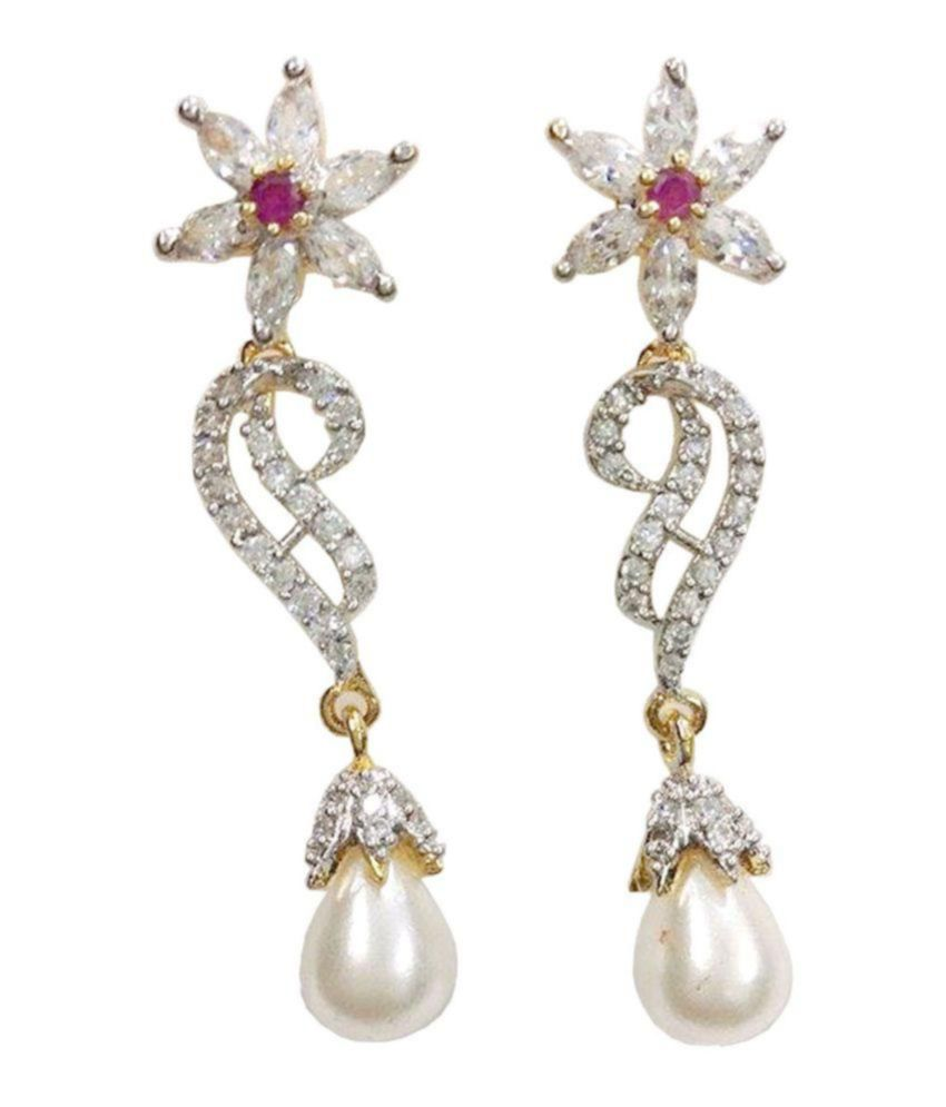 GJ Creations American Diamond Earrings For Women | Gold Plated AD Earrings With Attractive Design