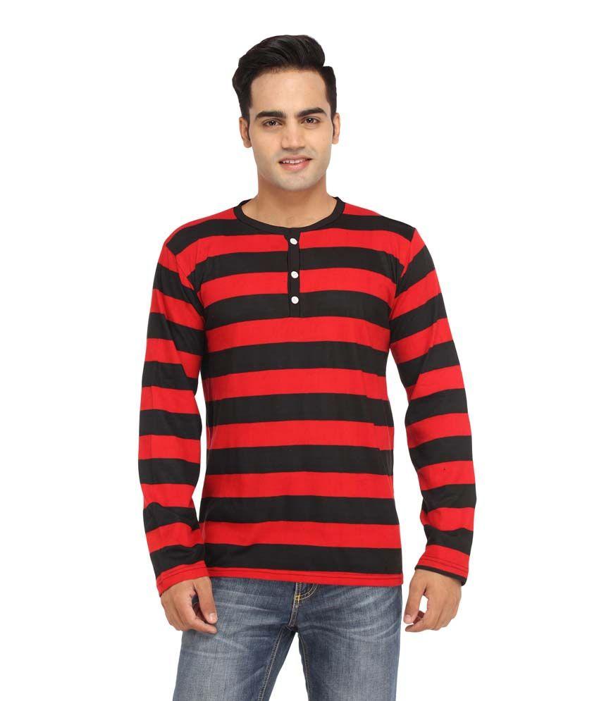 Leana Red Henley T Shirt