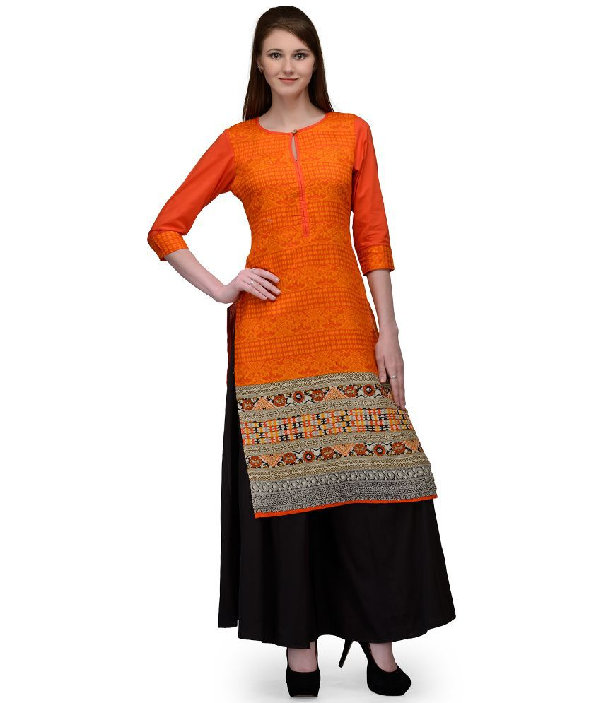 Natty India Orange Cotton Kurti with Palazzo