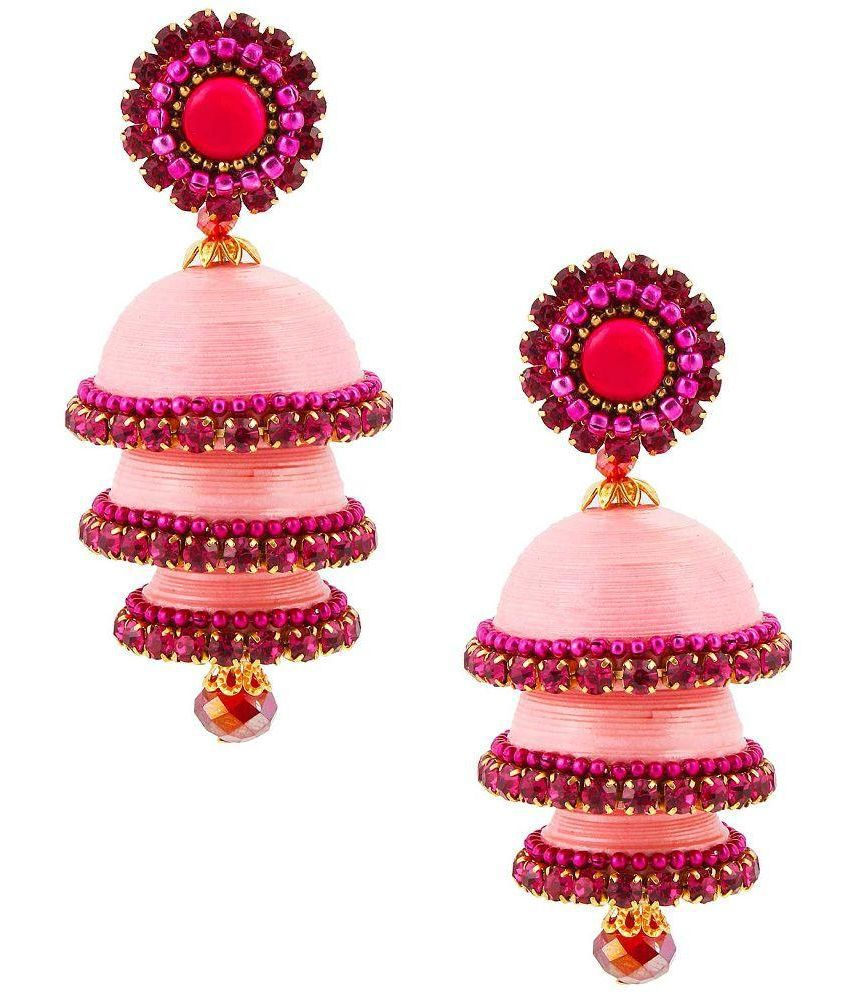 Yogya Mart Alloy Gold Plating Stones Studded Pink Coloured Earrings