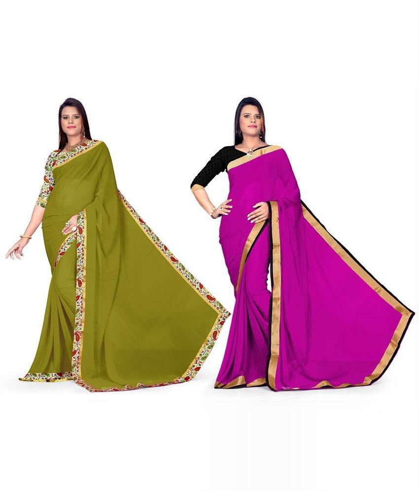 Aabha N Alia Multicoloured Chiffon Saree Combos