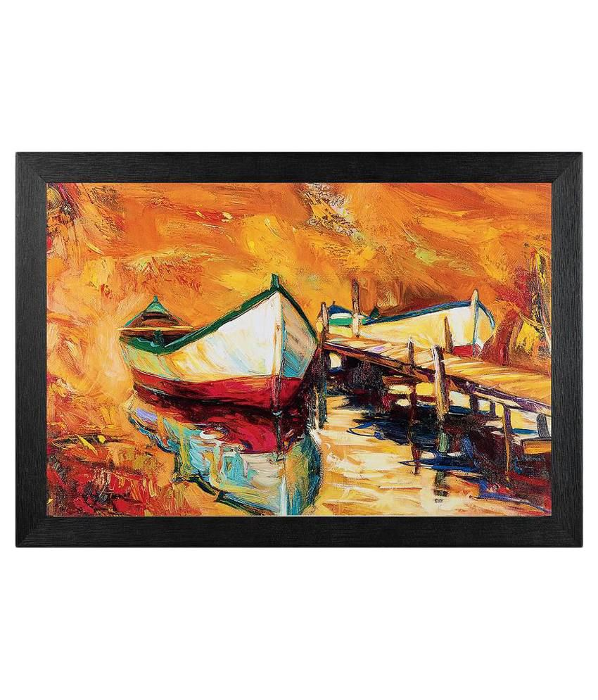 JAF Canvas Effect Painting with Textured Frame