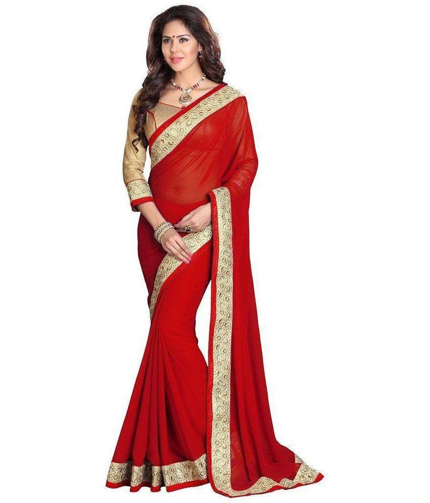 Poonam Saree Red Georgette Saree - Buy Poonam Saree Red Georgette ...