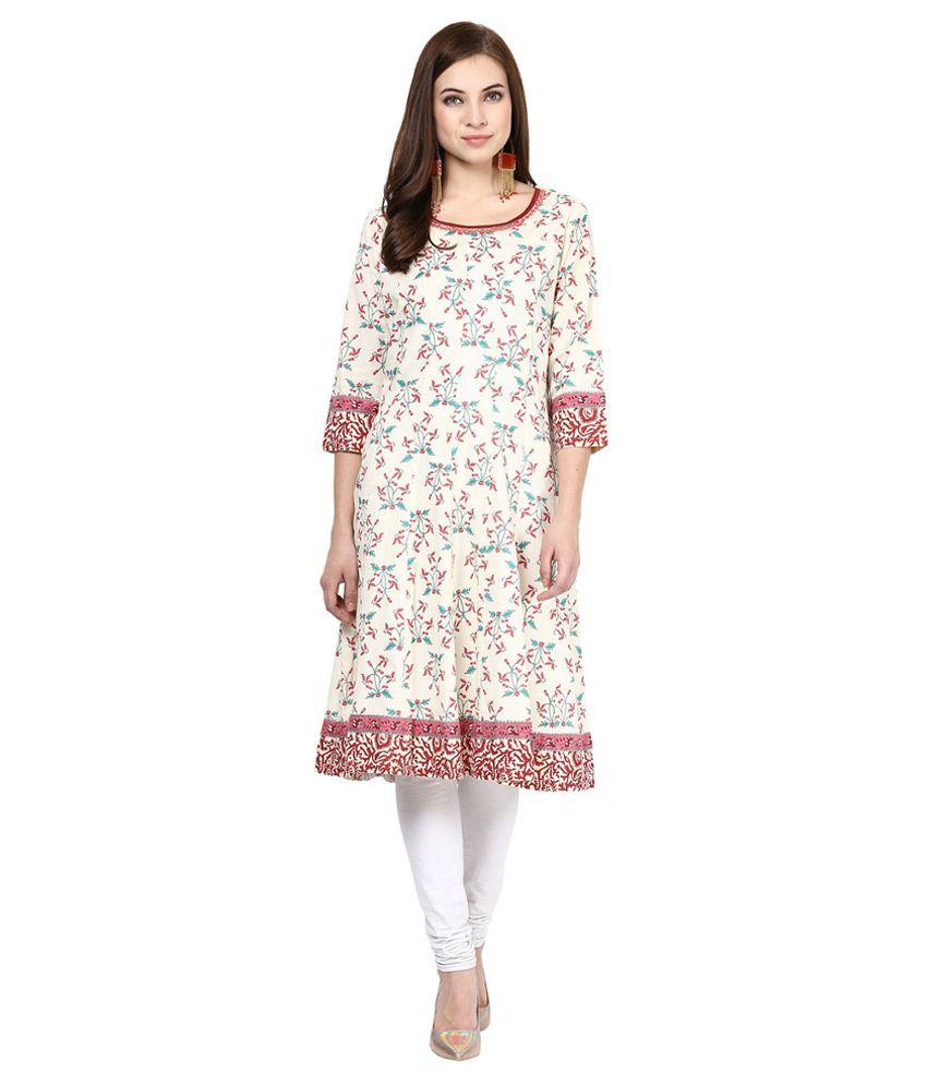 RANGMANCH by Pantaloons Off White Cotton Silk Kurti