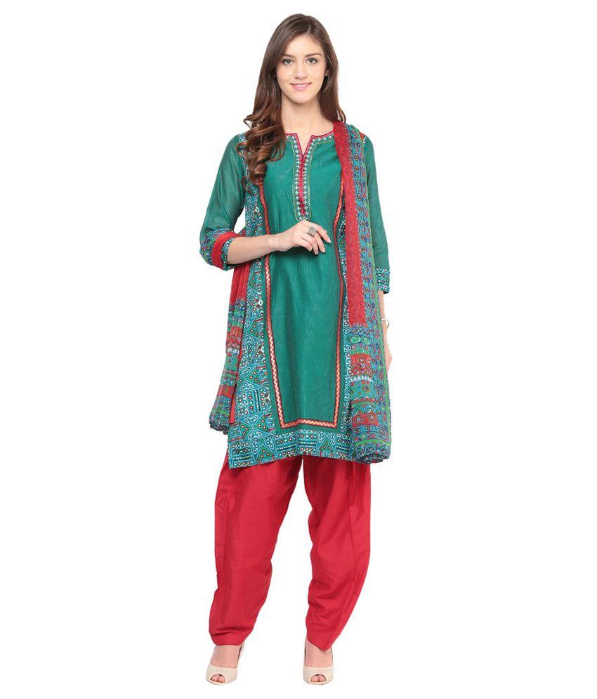 TRISHAA by Pantaloons Green Chanderi Salwar Suit