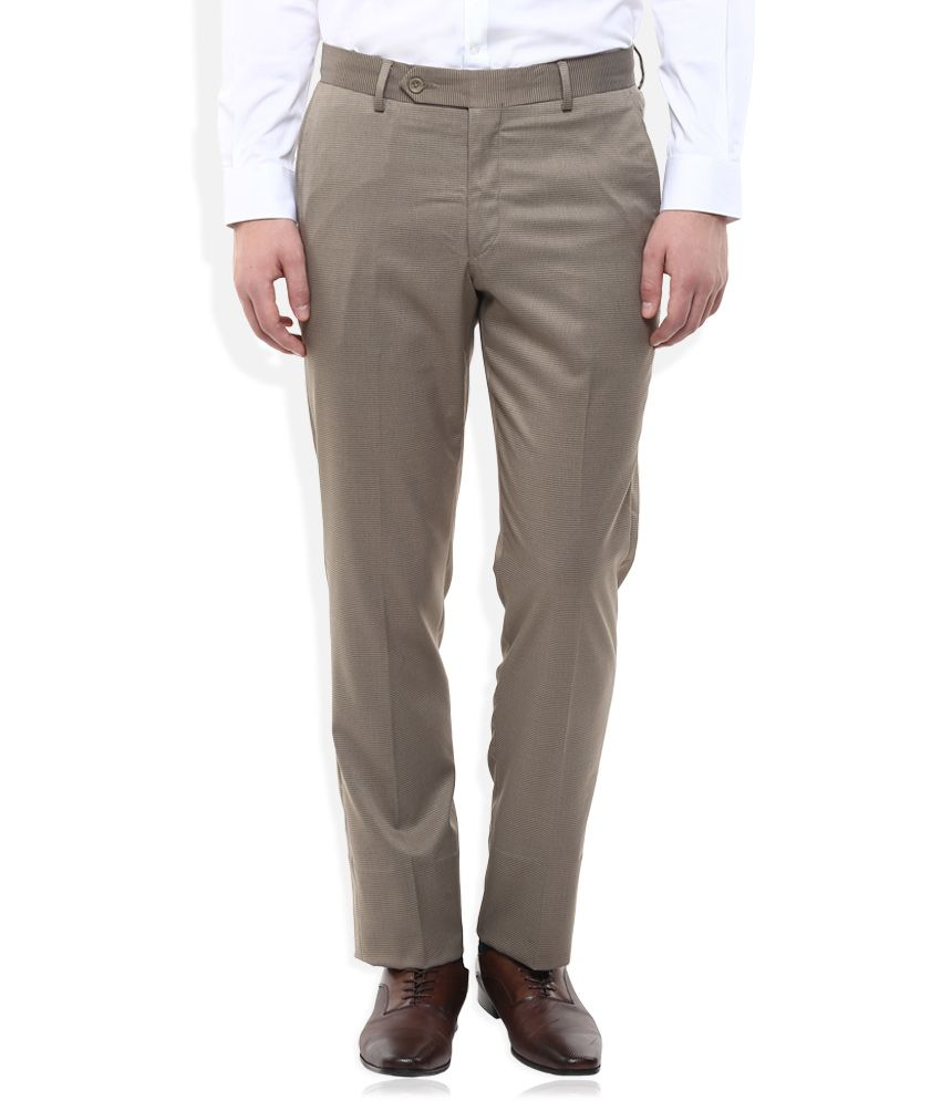 Wills Lifestyle Beige Slim Fit Trousers