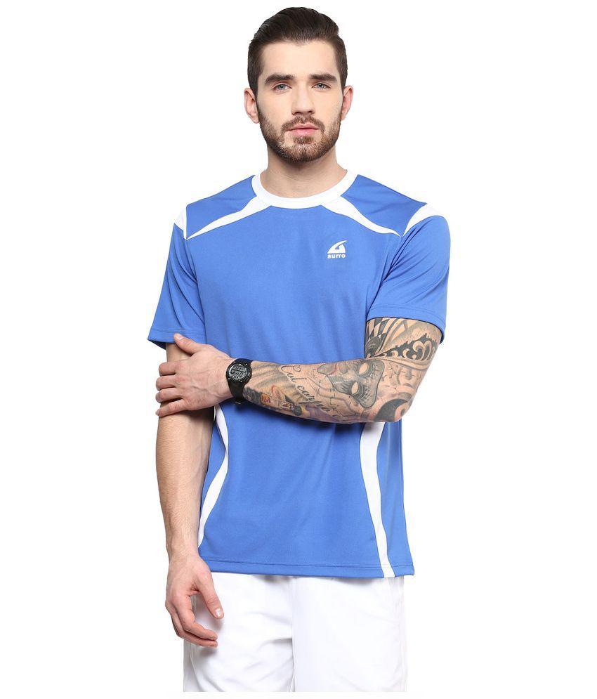 Aurro Sports Blue Round T Shirt
