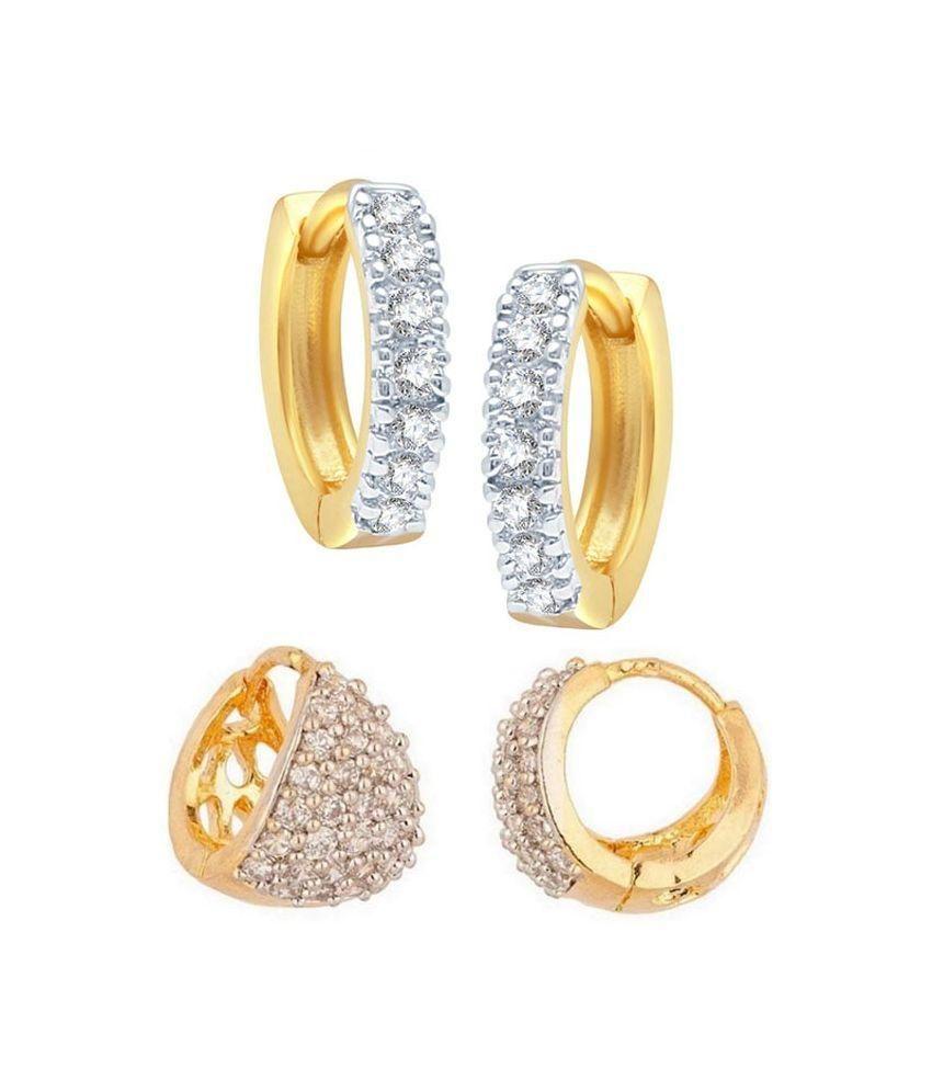 Gatishvam Mart Alloy Gold Plating American diamonds Studded White Coloured Earrings Combo