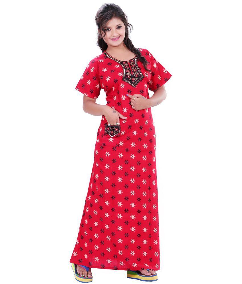 Mahaarani Red Cotton Nighty & Night Gowns
