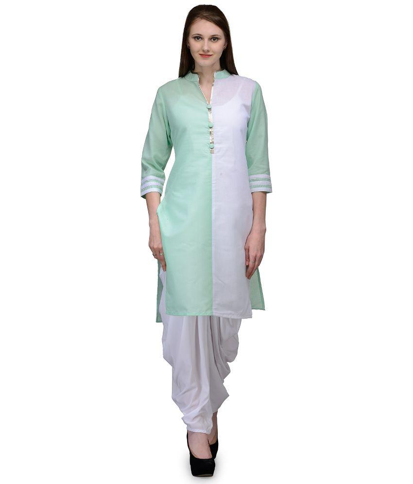 Natty India White Cotton Dhoti Suit