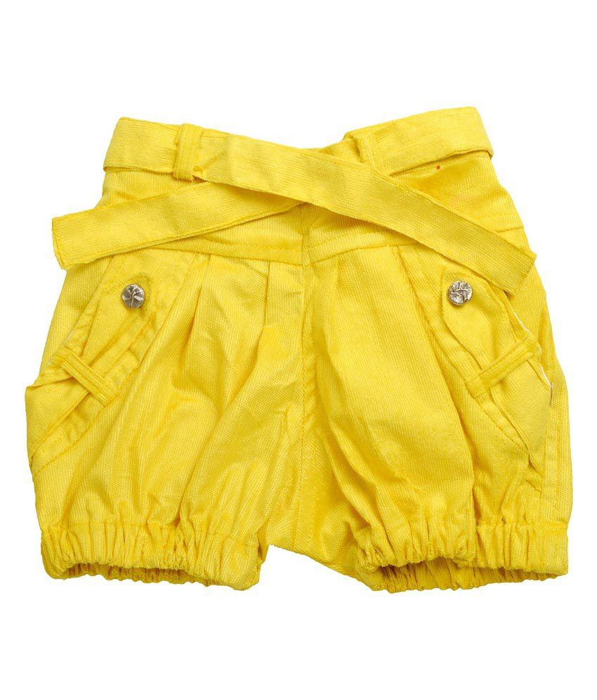 Shreemangalammart Yellow Cotton Shorts