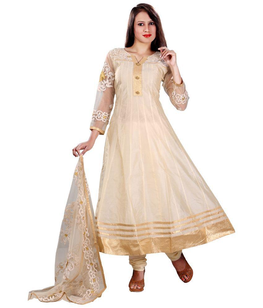 Stuti Art Beige Chanderi Anarkali Stitched Salwar Suit