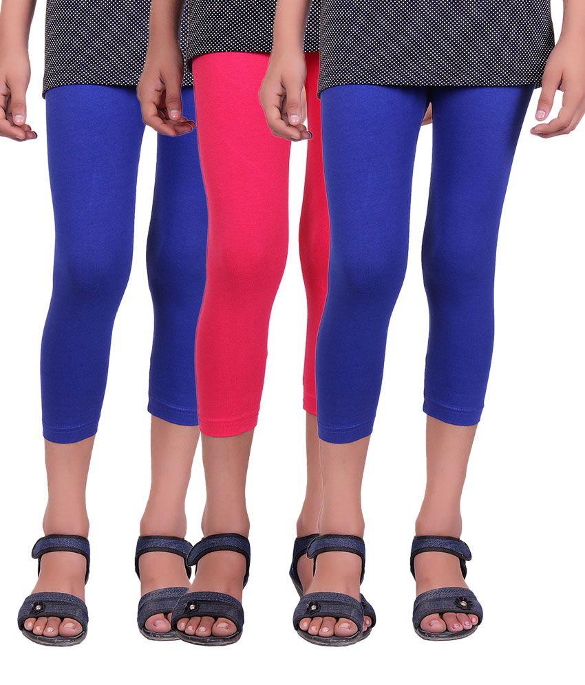 Alisha Multicolour Cotton Lycra Capris for Girls - Pack of 3