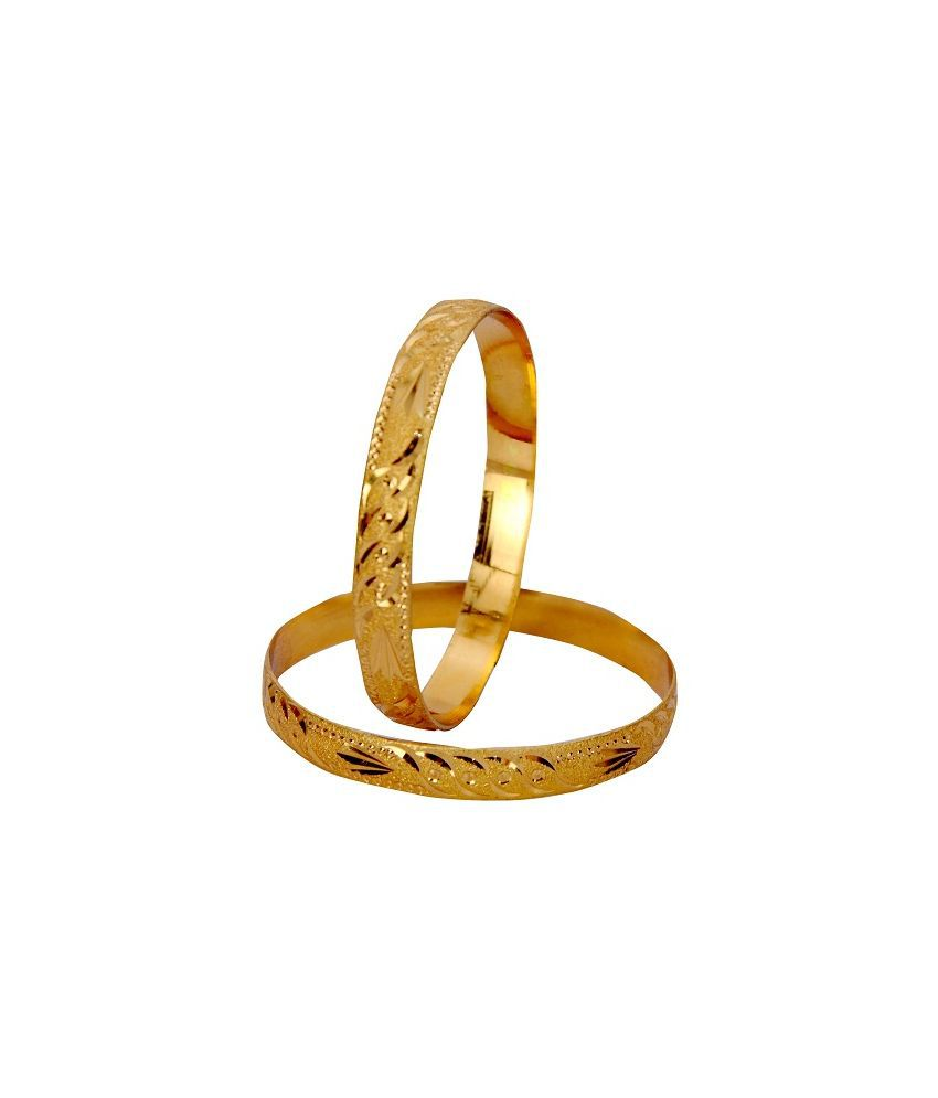 Ankur Imitation Jewellery Brass Gold Plating American diamonds Studded Gold Coloured Bangle Set