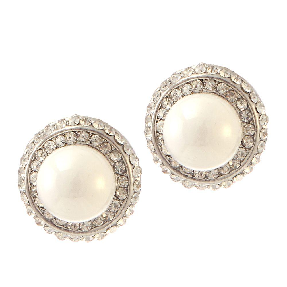 Kriaa Alloy Oxidised Stones Studded White Colour Earrings