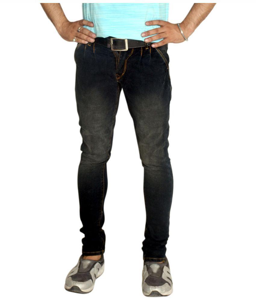 M J D Black Regular Fit Faded Jeans
