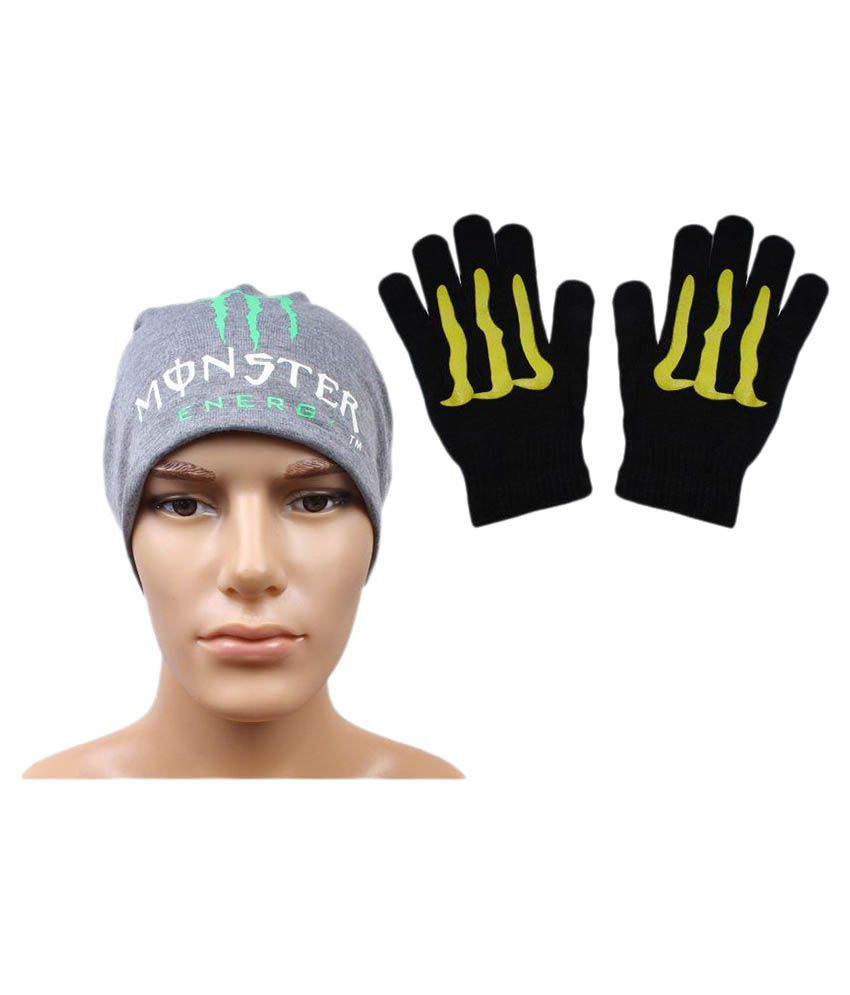 Sushito Gray Polyester Beanies Cap with Gloves