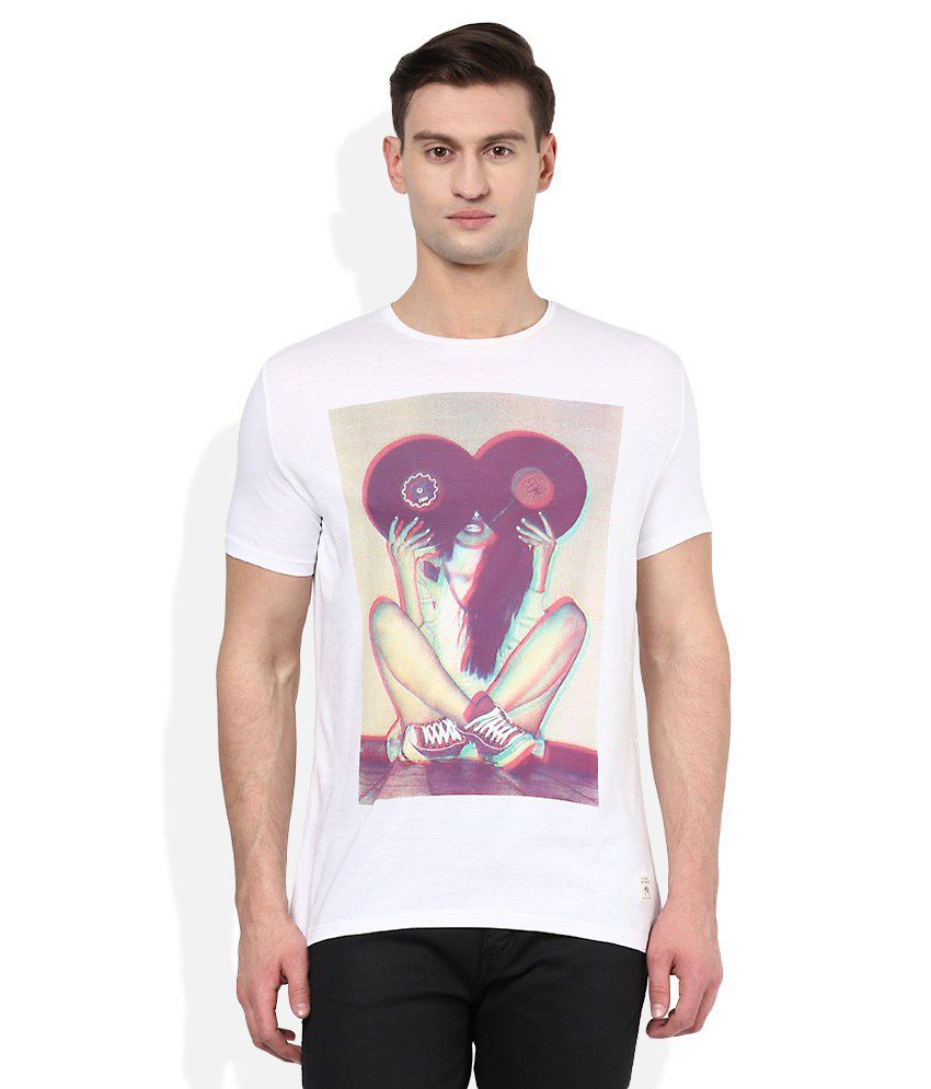 United Colors of Benetton White Round Neck T Shirt