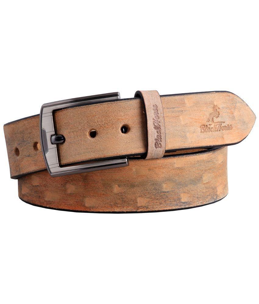 Black Horse Brown Leather Belt For Men