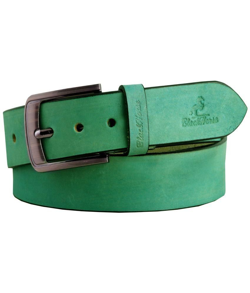 Black Horse Green Leather Belt For Men