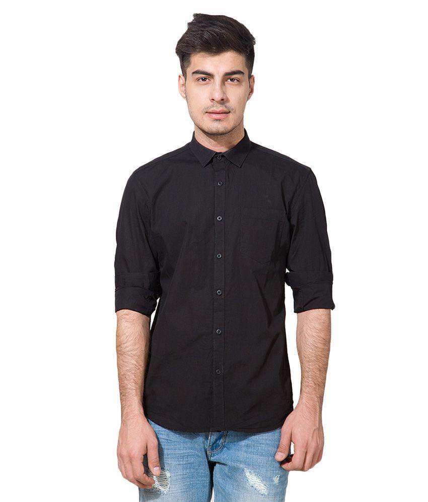 Blockbuster Deals!! Upto 70% Off On Everything By Snapdeal   Highlander Black Slim Fit Shirt @ Rs.389
