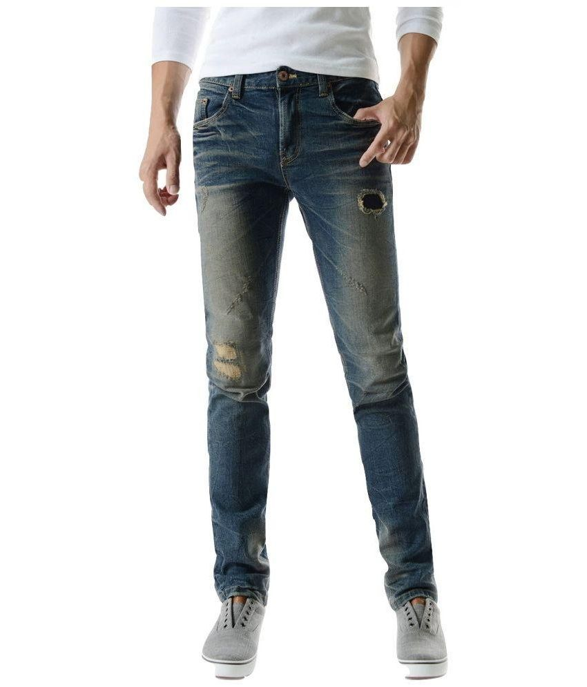 Anbow Blue Skinny Fit Distressed Jeans