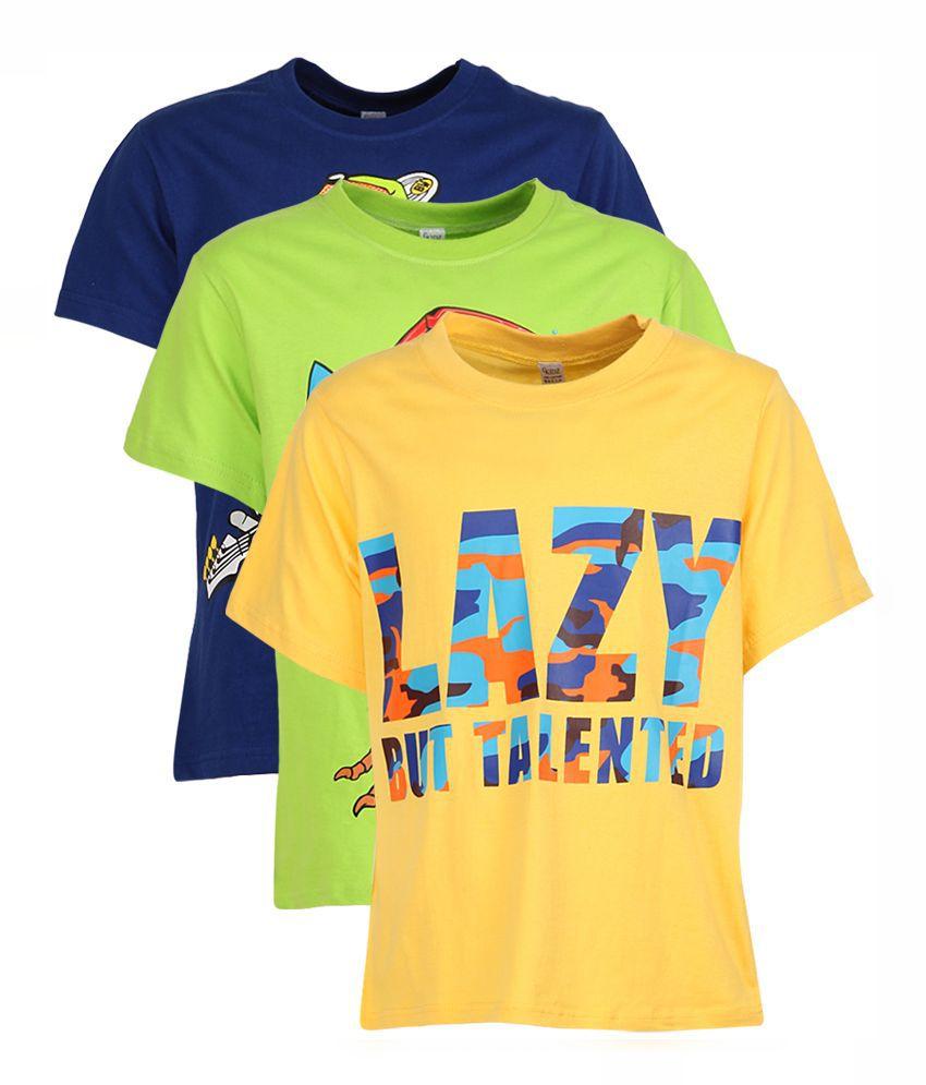 Gkidz BOYS(2-10 Yrs)Set of 3- Multicolor T Shirts