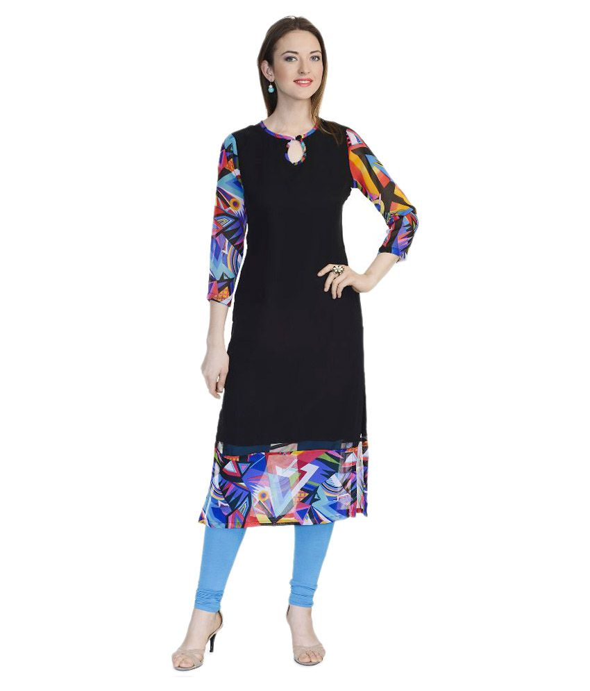 Limerence Black Georgette Straight Kurti