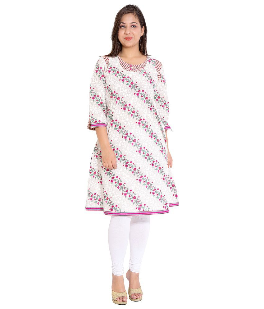 Tamaara White Cotton A - line Kurti